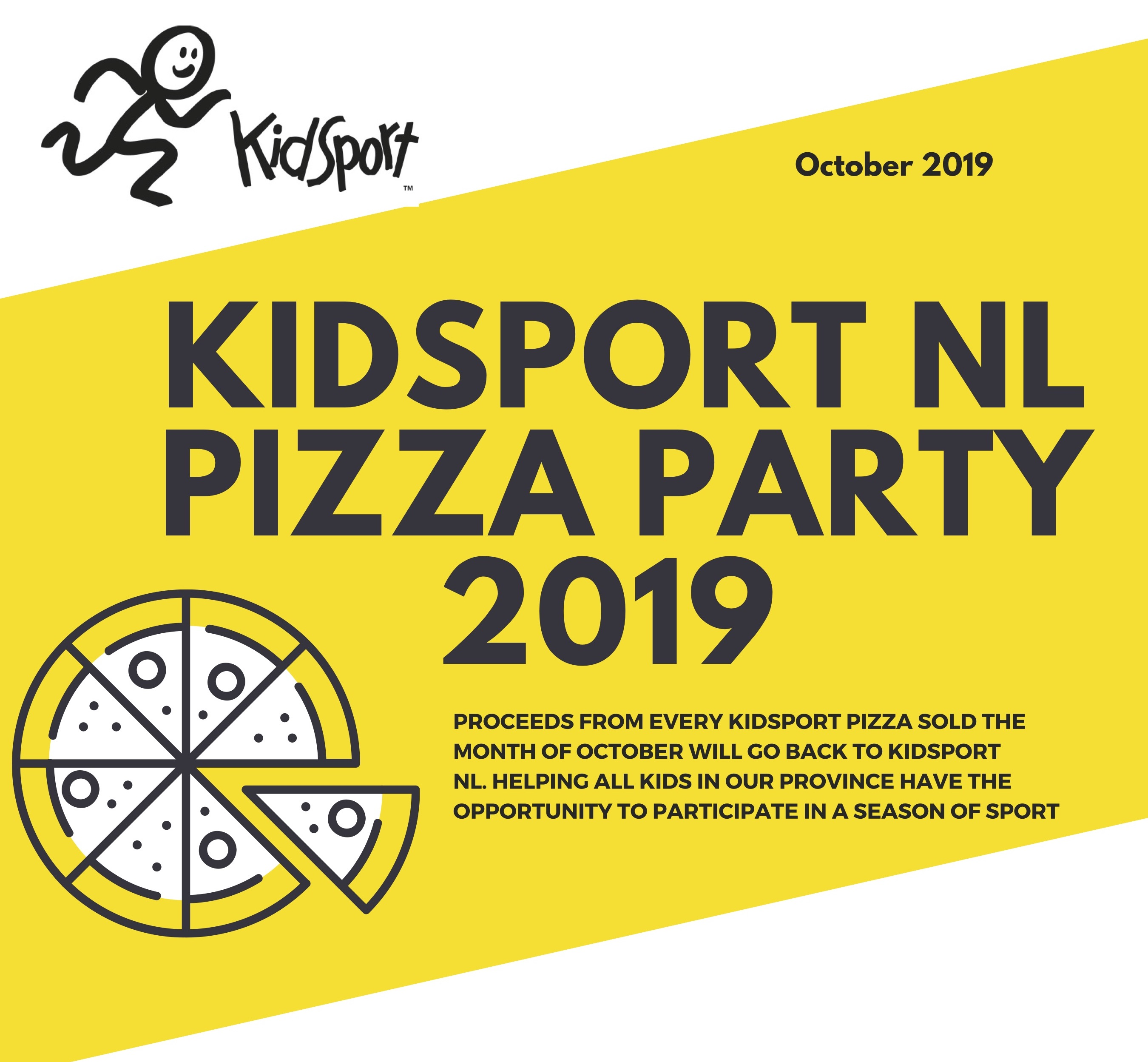 KidSport NL hosts Pizza Party 2019- THANK YOU!