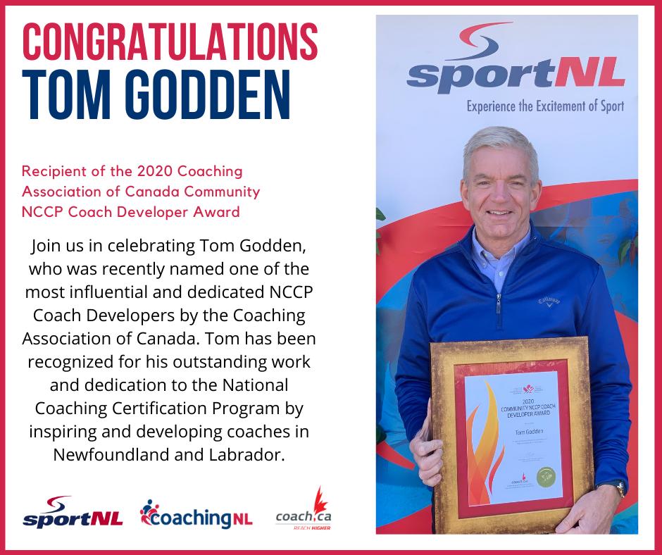 Tom Godden Recipient of the  Community NCCP Coach Developer Award